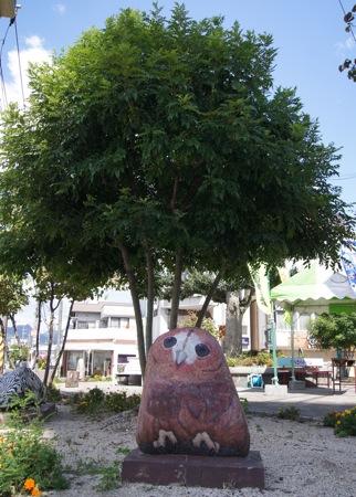大竹市の ストーンアート フクロウ
