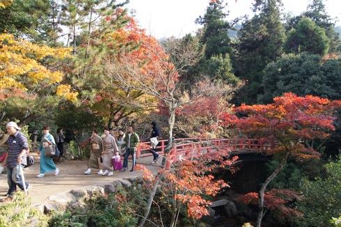 宮島 紅葉谷公園の橋と着物の女性
