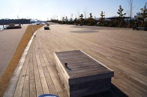 大和波止場公園にある 板張りの歩道