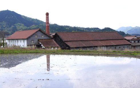 酒蔵 千代乃春と水田の風景