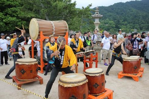 宮島 トライアスロンの時の太鼓演奏