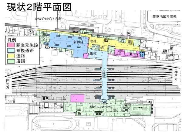 広島駅・橋上駅工事とエキナカ計画、ビフォーアフター