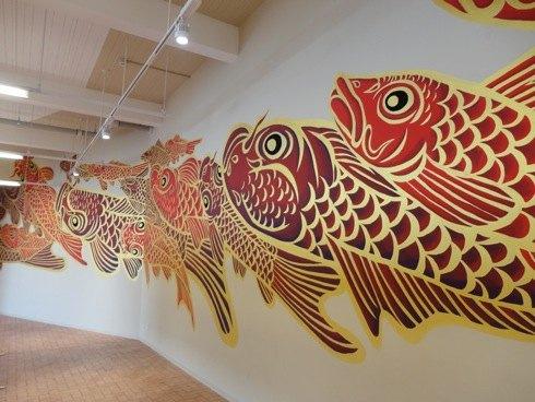 マツダスタジアムイベントスペース 鯉の壁画