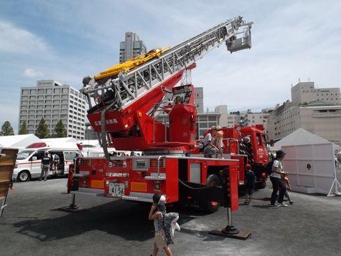 全国消防救助技術大会 広島 クレーン車の展示