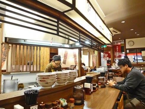 ちから ラーメン店、広島八丁堀店の店内の様子