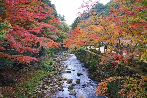 佛通寺、紅葉が見事な自然公園内のお寺と山道