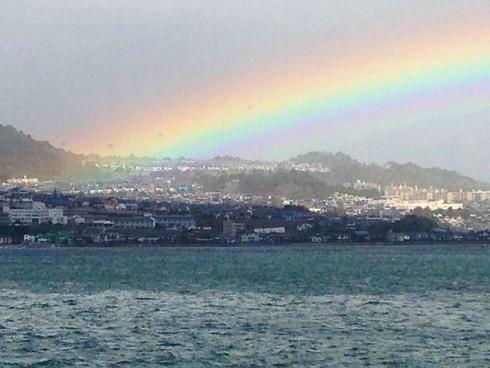 低い虹 アーチの低い虹が出没