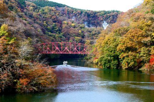 帝釈峡 遊覧船で巡る、渓谷の紅葉