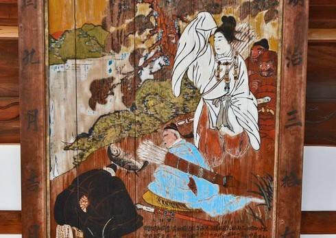 旭山神社、県主が神功皇后へ、大きな鯉を献上する絵