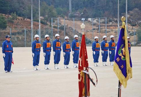 出初式、熊野町消防団による公開訓練