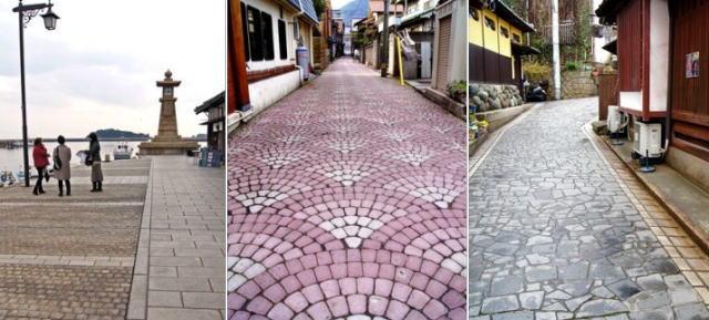 通りで異なる模様の石畳、鞆の浦の風情を密かに演出する足元の風景