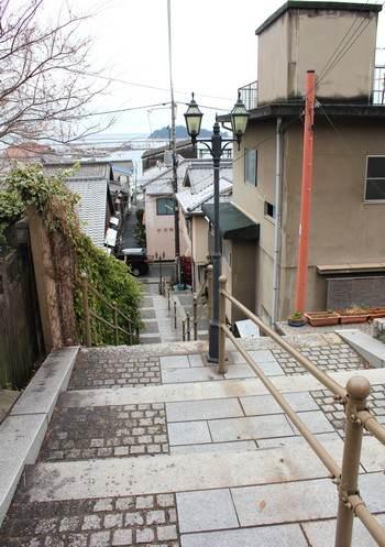 鞆の浦、階段の石畳の模様