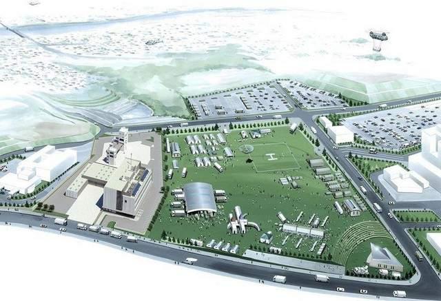 岩国市の運動施設、多目的広場は災害時の避難場所に