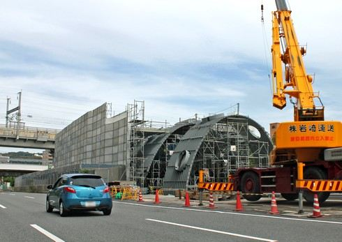 形が見え始めた白島新駅、JRとアストラムライン 両駅連結で