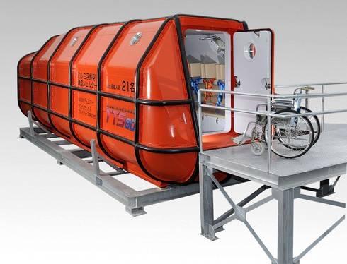尾道市ツネイシが、21人乗りの津波シェルターを開発