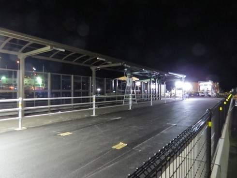 宮島口桟橋の工事の様子