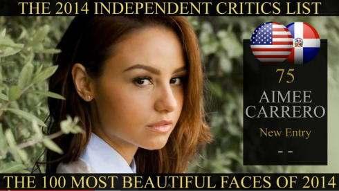 世界で最も美しい顔100人 2014年、75位はエイミーカレロ