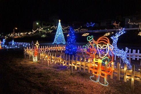 瀬野川イルミネーションが2014も点灯中、河川敷を彩る手作りイルミ