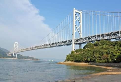 因島大橋記念公園、ビーチからの眺め