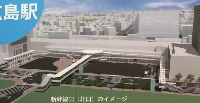 広島駅北口、歩行者専用通路の完成図