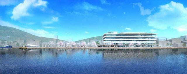 尾道市役所 新庁舎 海からの眺め