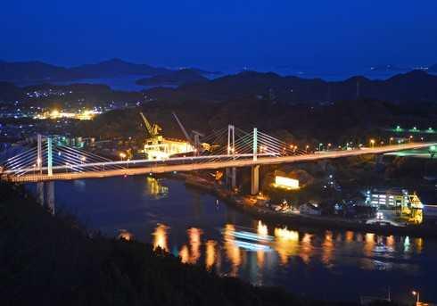 ライトアップされた新尾道大橋と、尾道の海辺の夜景