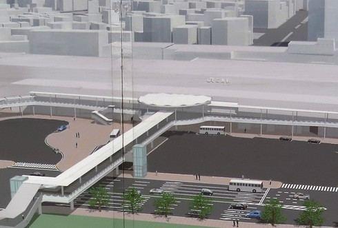 広島駅北口 ペデストリアンデッキの完成イメージ