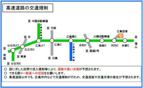 G7広島外相会合 高速道路の交通規制