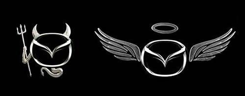 マツダ車のエンブレムが天使や悪魔に