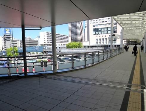 広島駅北口、ペデストリアンデッキの一部が通行可能に