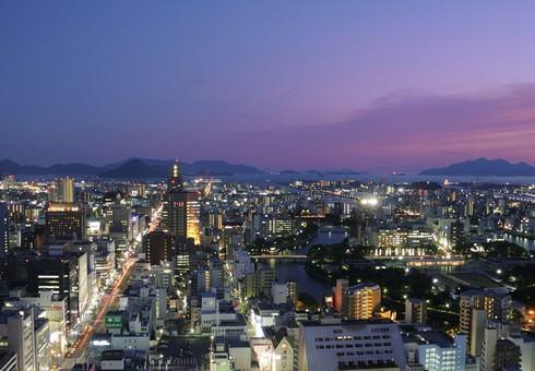 リーガロイヤルホテル広島の33Fリーガトップからの眺め
