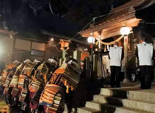 亀山八幡神社で大松明奉納
