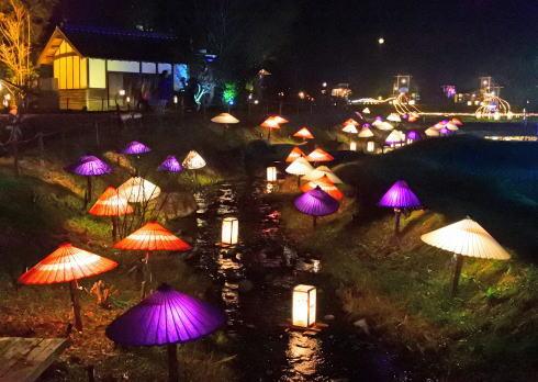 備北イルミ2016 ひばの里 和傘の演出