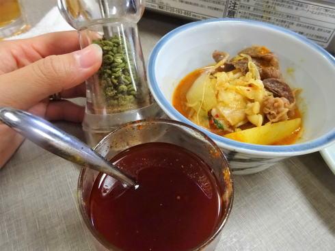 尾道市 米徳 肉鍋にあう調味料たち