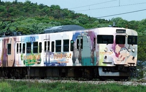 映画「ひるね姫」ラッピング電車、岡山・広島・兵庫・香川で
