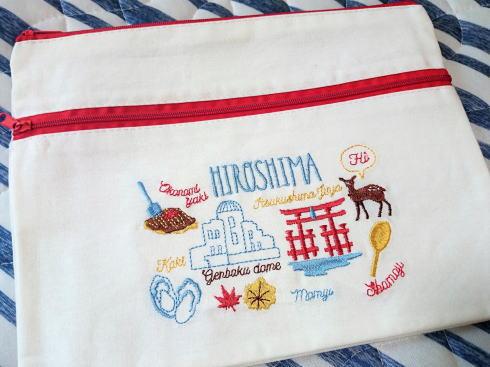 3コインズ 人気刺繍ポーチにご当地バージョン、広島・大阪・京都など7柄