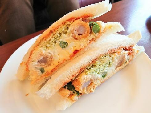 東広島市 フレスコ サンドカフェ サンドイッチ(アスパラ海老フライ)