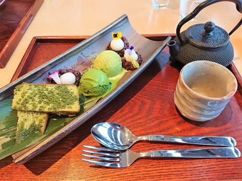 天満屋緑井店 和カフェ まるたか堂 極み抹茶のプレートパフェ