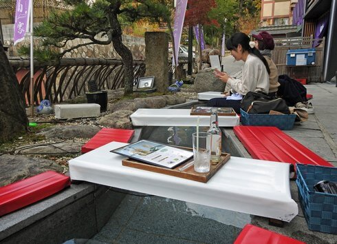 宮島で無料の足湯