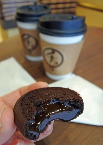 広島チョコラトリー、焼きチョコラを熱いコーヒーと一緒に