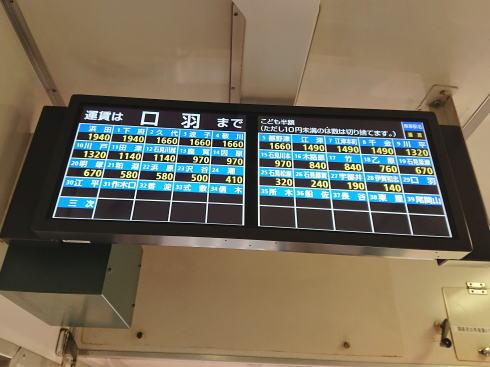 三江線 車内の料金パネル