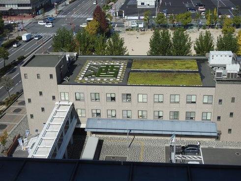 東広島市役所、屋上に「酒」の字