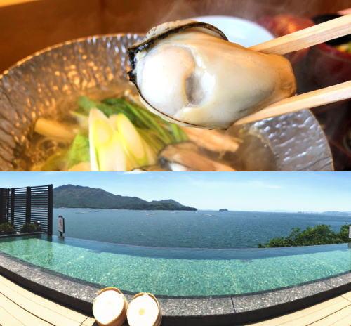 宮島を眺める絶景風呂の食事付きプランが人気、旬の牡蠣メニューも