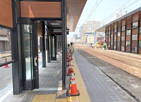 広電本社前電停の待合室、将来はバスの電停に?