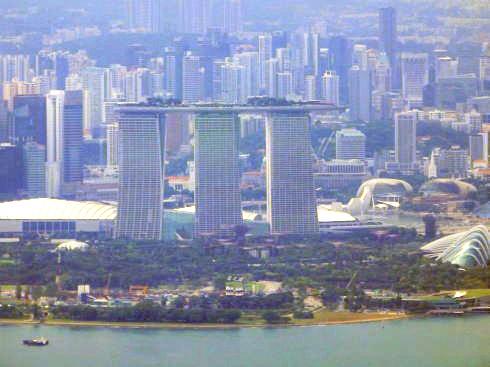 空から見るシンガポール マリーナベイサンズ