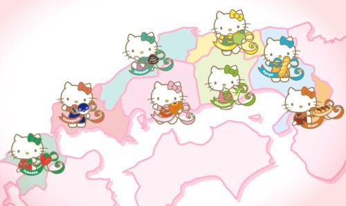 ハローキティ新幹線にご当地キティ 福岡、山口、広島、岡山、島根、鳥取、大阪、兵庫