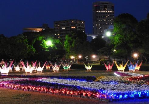 平和公園の花にはイルミネーションでライトアップ