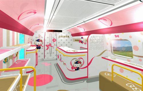 ハローキティ新幹線 1号車の内装