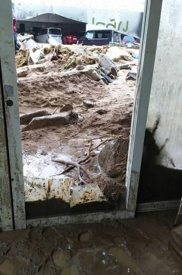大雨被害、広島市安芸区矢野で浸水