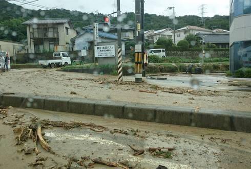 広島市東区馬木・広島東インター-付近、大雨被害